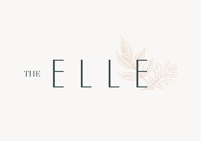 "a dark green modern elegant logo with ""the"" in all caps serif and ""elle"" in all caps sans serif sitting in front of 2 gold leaf illustrations on the right side of the wordmark"